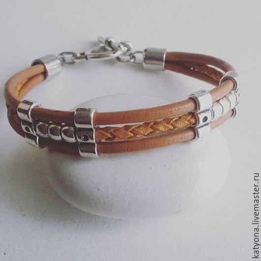 """Браслеты ручной работы. Ярмарка Мастеров - ручная работа. Купить Кожаный браслет """"Alex"""". Handmade. Бежевый, браслет, кожа натуральная"""