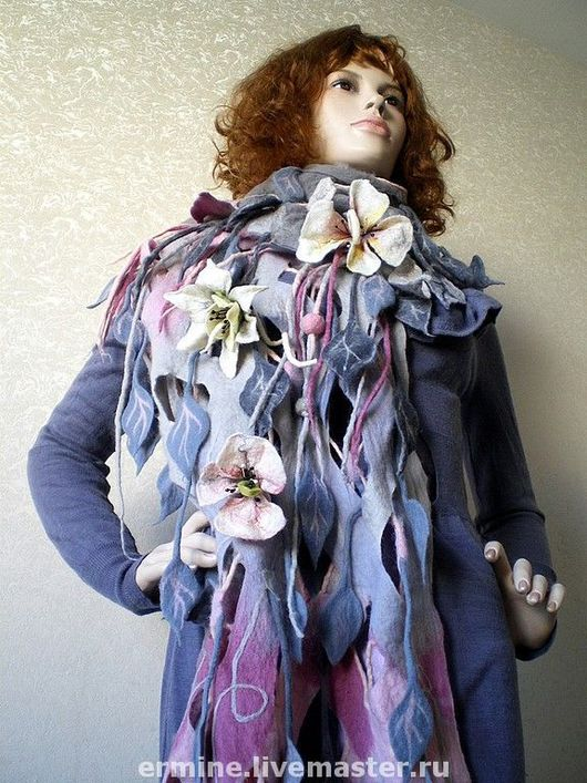 Shawls & Stoles handmade. Livemaster - handmade. Buy tippet'Ashes of roses'.Tippet, wool, natural silk