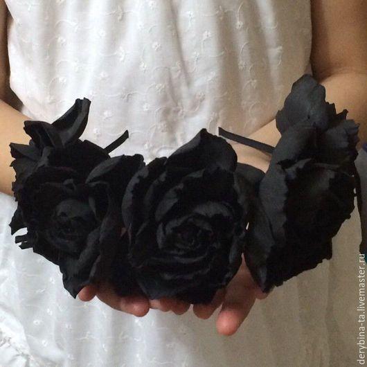 Диадемы, обручи ручной работы. Ярмарка Мастеров - ручная работа. Купить Ободок для волос. Черная роза из ревелюра (фоамирана).. Handmade.