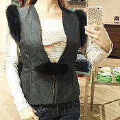 Одежда ручной работы. Ярмарка Мастеров - ручная работа Жилетка из костюмной ткани и меха песца. Handmade.