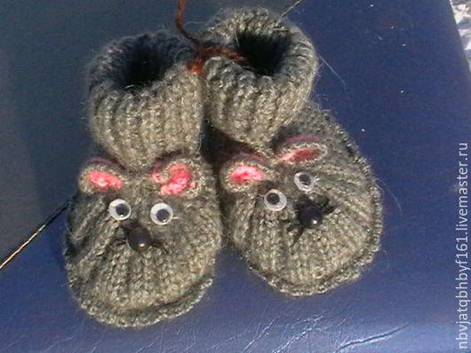 """Для новорожденных, ручной работы. Ярмарка Мастеров - ручная работа. Купить Пинетки """"Мышки"""". Handmade. Темно-серый, пинетки, для малыша"""