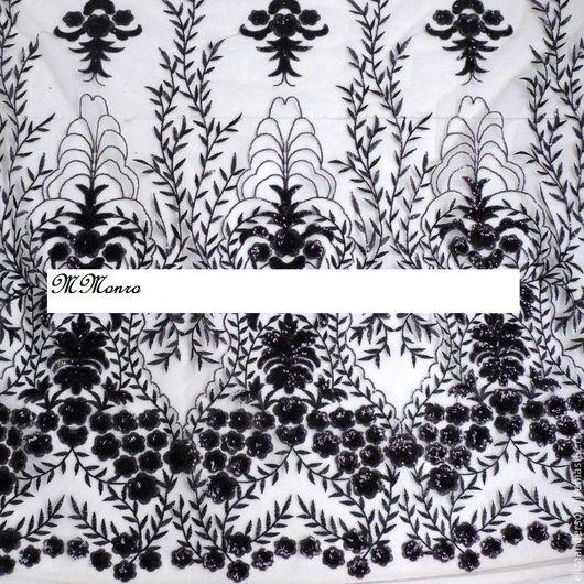 Шитье ручной работы. Ярмарка Мастеров - ручная работа. Купить Узористая ткань расшитая пайетками, Энни (черный). Handmade. Черный