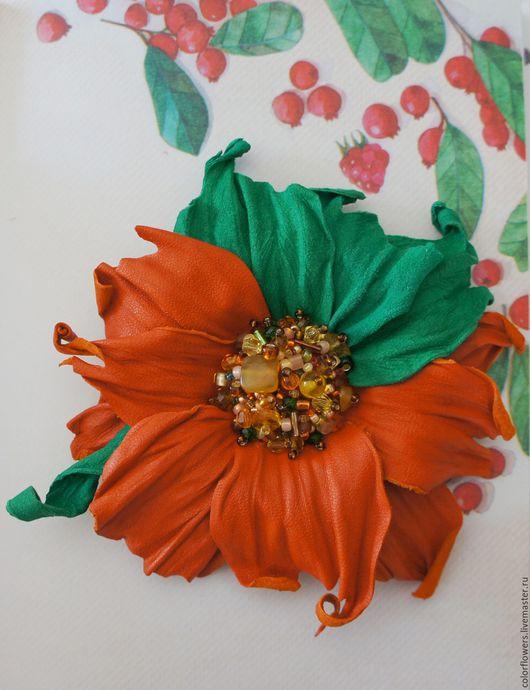 Броши ручной работы. Ярмарка Мастеров - ручная работа. Купить Цветок-брошь из натуральной кожи. Handmade. Рыжий, подарок