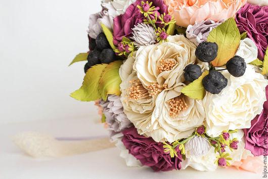 Свадебные цветы ручной работы. Ярмарка Мастеров - ручная работа. Купить букет невесты ОСЕНЬ. Handmade. Бледно-сиреневый