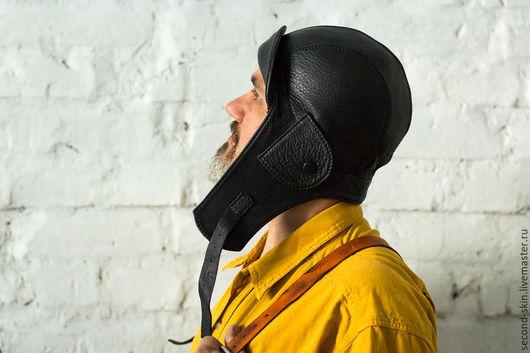 Шапки ручной работы. Ярмарка Мастеров - ручная работа. Купить Шлем лётчика из кожи. Handmade. Киберпанк, черный, шлем летчику