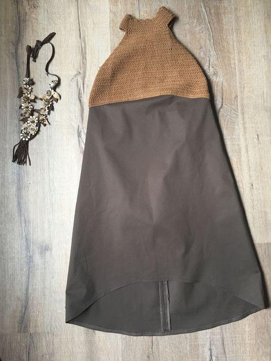 Платья ручной работы. Ярмарка Мастеров - ручная работа. Купить Платье хлопковое коричневое. Handmade. Платье, пряжа