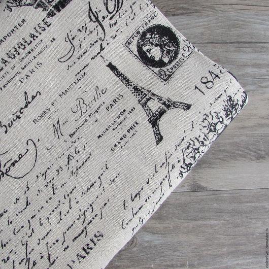 Ткань лен натуральный. Рисунок Французская Республика.