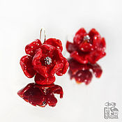 Украшения handmade. Livemaster - original item Earrings flowers Red phoenix. Silver, lampwork glass. Roses. Handmade.