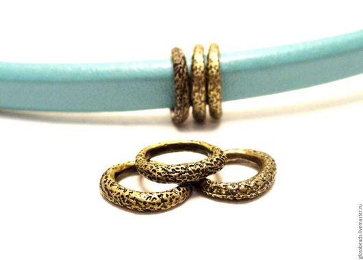 Для украшений ручной работы. Ярмарка Мастеров - ручная работа. Купить Металлическая бусина шершавая для браслета Regaliz,  античное золото. Handmade.