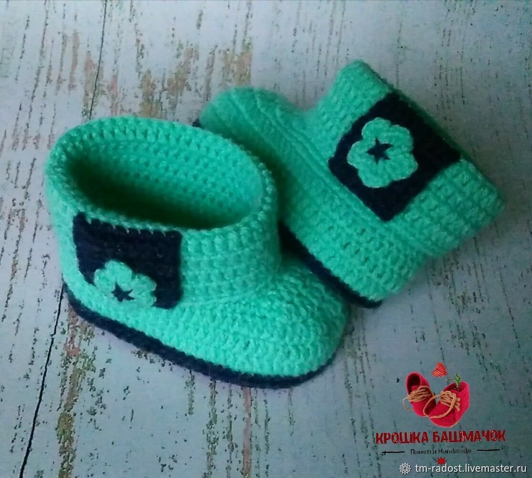 Knitted baby booties Boots with lapel, Booties, Krasnodar, Фото №1