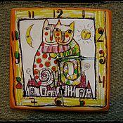 """Для дома и интерьера ручной работы. Ярмарка Мастеров - ручная работа Часы настенные """" Коты. Три глаза. Один взгляд на жизнь """". Handmade."""
