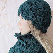 Аксессуары handmade. Livemaster - original item Set-hat and scarf, half-fur, color dark emerald. Handmade.