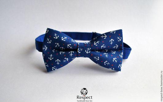 Галстуки, бабочки ручной работы. Ярмарка Мастеров - ручная работа. Купить Галстук бабочка Фрегат / бабочка галстук синяя с якорями. Handmade.