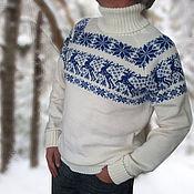 Одежда ручной работы. Ярмарка Мастеров - ручная работа Свитер с оленями Скандинавия шерсть белый. Handmade.