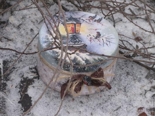 """Шкатулки ручной работы. Ярмарка Мастеров - ручная работа. Купить Бонбоньерка """"Зима..."""". Handmade. Голубой, шкатулка ручной работы"""