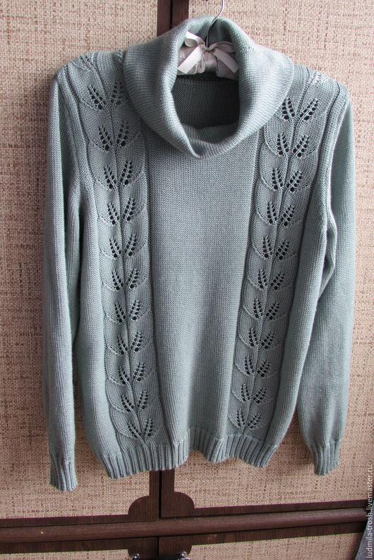 Кофты и свитера ручной работы. Ярмарка Мастеров - ручная работа. Купить свитер из кашемира с ажурными листочками. Handmade. Оливковый