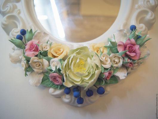 Зеркала ручной работы. Ярмарка Мастеров - ручная работа. Купить зеркало с цветами из полимерной глины. Handmade. Комбинированный, зеркало настенное