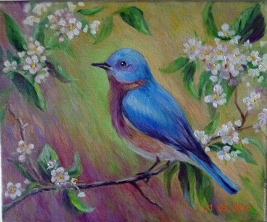Животные ручной работы. Ярмарка Мастеров - ручная работа. Купить Синяя птица. Холст,,масло.25х30 см.. Handmade. цветы