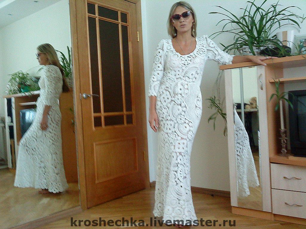 хлопковое длинное вязаное крючком платье белоснежное купить в