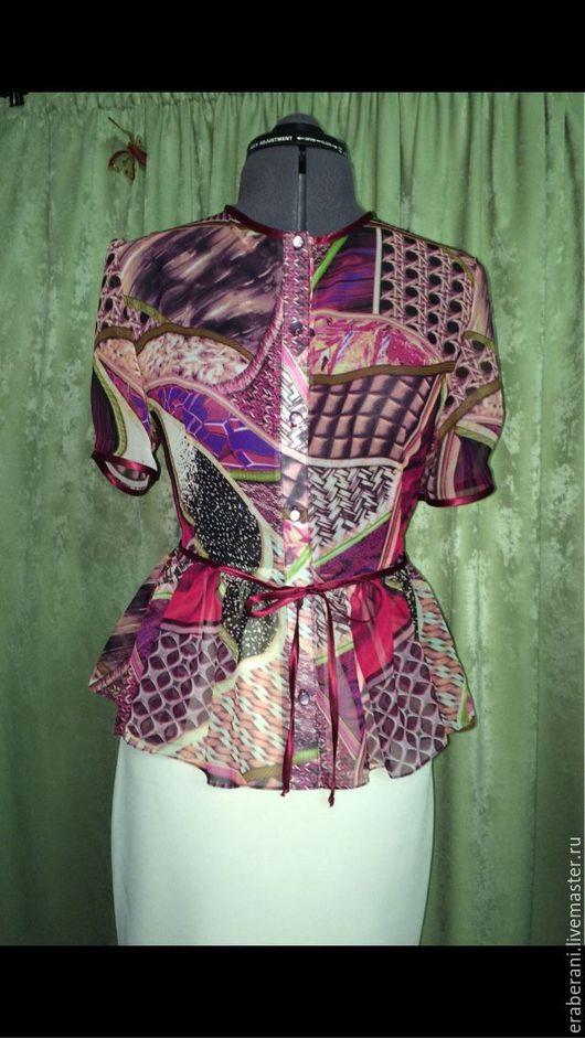 Блузки ручной работы. Ярмарка Мастеров - ручная работа. Купить Блузка из шифона. Handmade. Блузка, блузка на заказ, блузка с баской