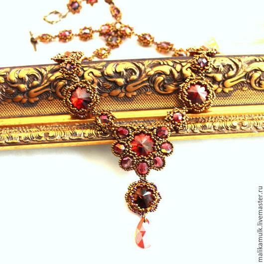 """Колье, бусы ручной работы. Ярмарка Мастеров - ручная работа. Купить колье ожерелье бусы """"Red magma"""" с кристаллами Сваровски. Handmade."""
