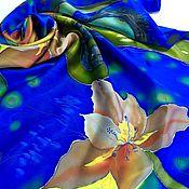 """Аксессуары ручной работы. Ярмарка Мастеров - ручная работа Платок """"Синие сны"""" атлас, батик. Handmade."""