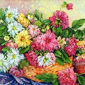 Картины и панно handmade. Livemaster - original item Pattern with satin Aster and chrysanthemum ribbons. Handmade.