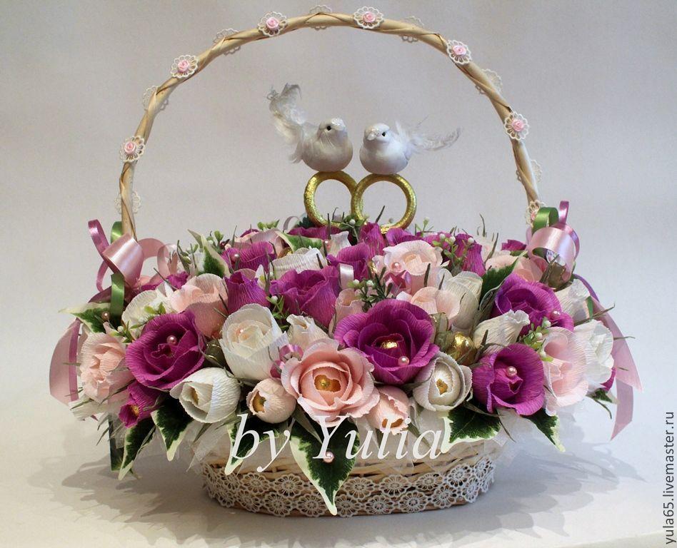 Свадебная корзина с цветами: оригинальный подарок