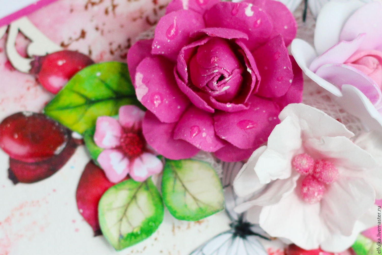Двухсторонняя открытка с цветами и бантиками для