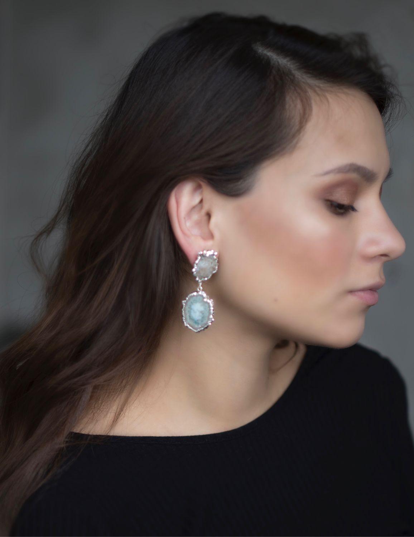 Earrings with amethyst in a section of stalactites, Earrings, Ufa,  Фото №1