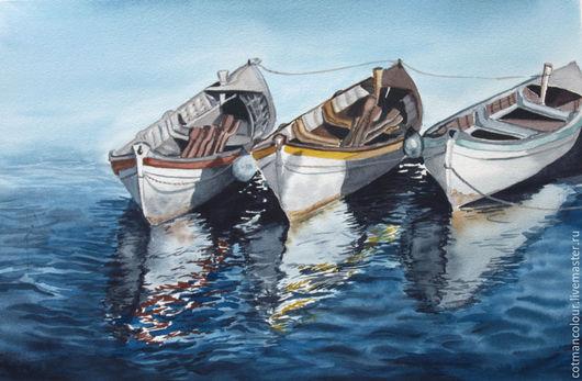 Пейзаж ручной работы. Ярмарка Мастеров - ручная работа. Купить Лодки на острове. Handmade. Тёмно-синий, лодки, море