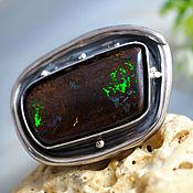 Украшения handmade. Livemaster - original item Ring Australian Boulder Opal Ring Sterling Silver Jewelry. Handmade.