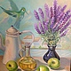 Картина маслом. Натюрморт `Птичка с лавандой` Холст на подрамнике. Авторская работа Натальи Ива.