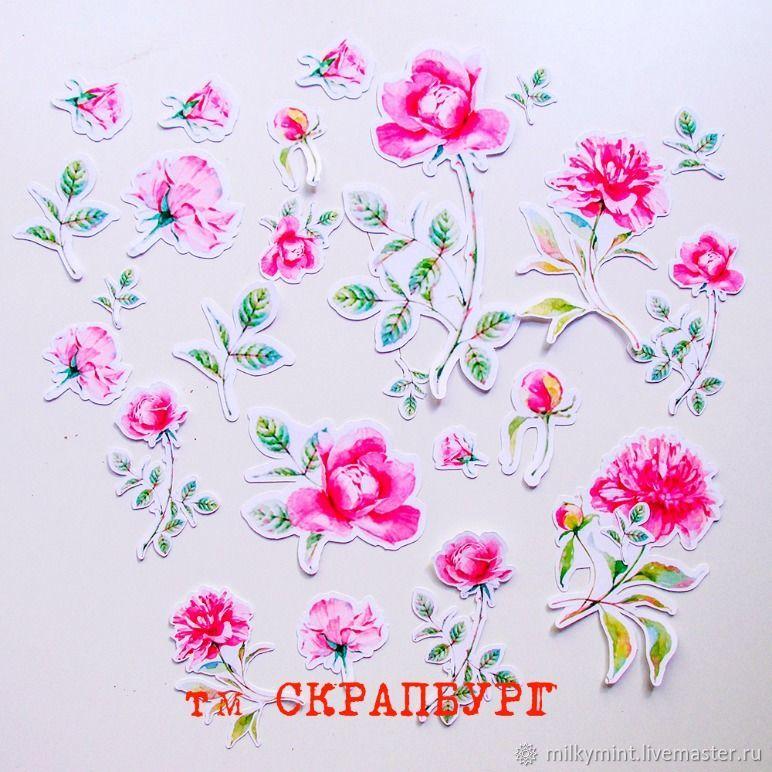 Бумажные высечки (вырубка) с цветами (с розами), Вырубки для скрапбукинга, Москва,  Фото №1