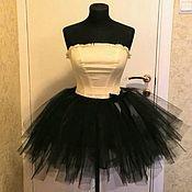 Одежда ручной работы. Ярмарка Мастеров - ручная работа Фатиновая юбка tutu, ложная пачка, пышная, без подклада, черная. Handmade.