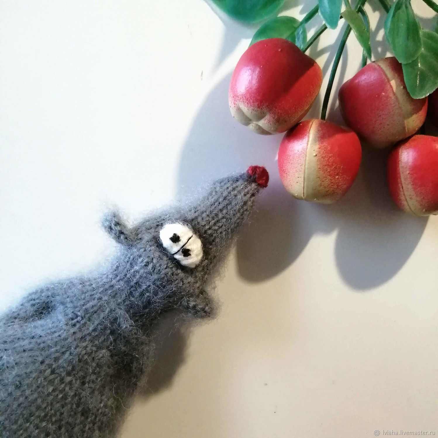 Mouse..... I'm tired .... (knitted toy, knitted mouse with needles), Stuffed Toys, Teykovo,  Фото №1