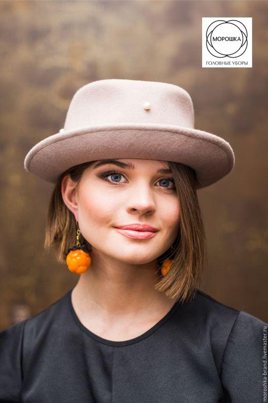 Шляпы ручной работы. Ярмарка Мастеров - ручная работа. Купить Бежевая федора. Handmade. Бежевый, осень 2016, шляпа из фетра