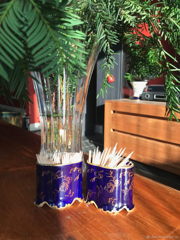 Antique toothpick Cup, Germany, cobalt, gold 22k, Vintage interior, Arnhem,  Фото №1