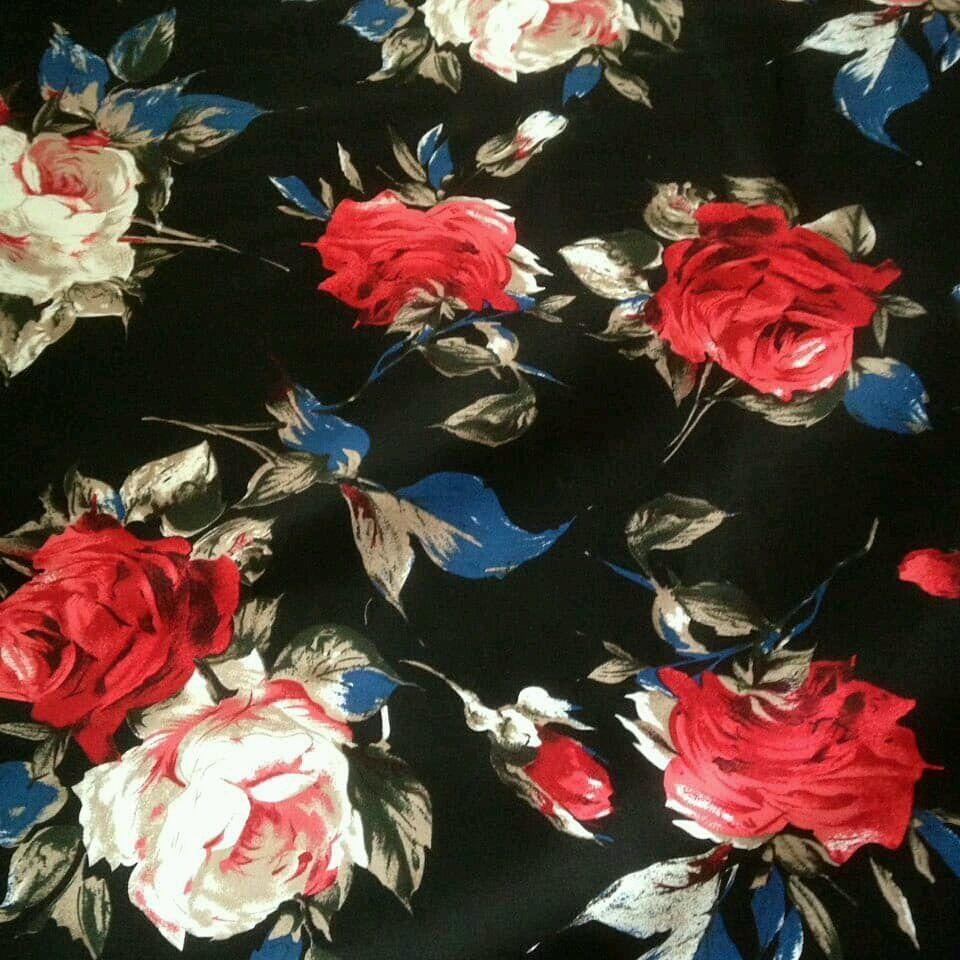 Ткань хлопок стрейч цветы черный СДМ 01.2, Ткани, Москва,  Фото №1