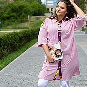 Одежда handmade. Livemaster - original item Author`s Dress shirt cotton red stripe. Handmade.