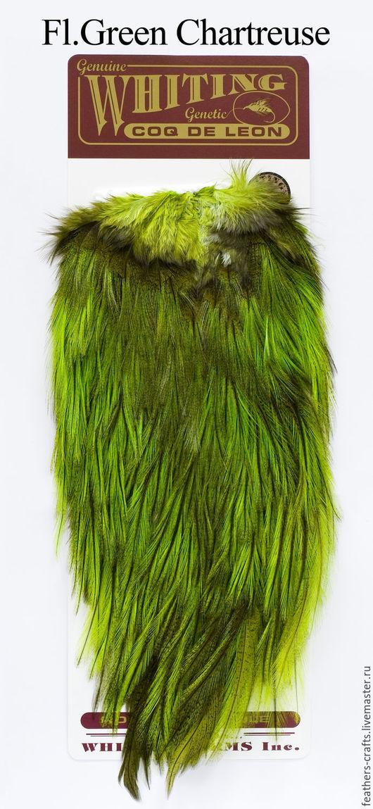 Другие виды рукоделия ручной работы. Ярмарка Мастеров - ручная работа. Купить Перья Coq de Leon Bronze Saddle Badger/Fl.Gr. Chartreuse (51302256). Handmade.