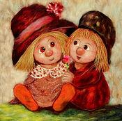 """Картины и панно ручной работы. Ярмарка Мастеров - ручная работа Картина шерстью """"Ангелочки в шляпках"""". Handmade."""