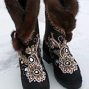 Обувь ручной работы handmade. Livemaster - original item boots: shoes: Half-boots embroidered with mink fur. Handmade.