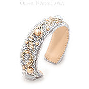 Украшения handmade. Livemaster - original item embroidered edelweiss bracelet with swarovski crystals. Handmade.