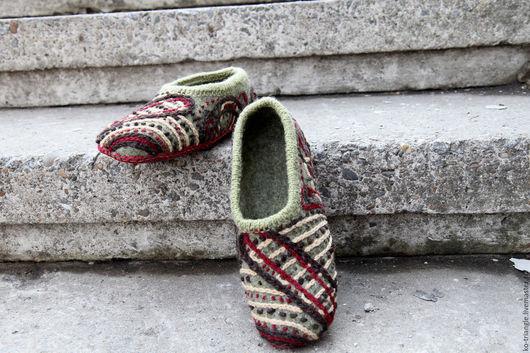 """Обувь ручной работы. Ярмарка Мастеров - ручная работа. Купить Валяные тапочки  """"Деревенские"""". Handmade. Серый, валяные тапочки домашние"""