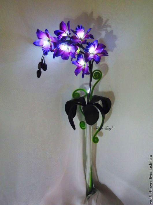 """Освещение ручной работы. Ярмарка Мастеров - ручная работа. Купить Букет-светильник """"Ночная Орхидея """". Handmade. Фиолетовый"""