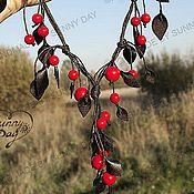 """Украшения ручной работы. Ярмарка Мастеров - ручная работа Комплект """"Wildberry"""" (red) (серьги+колье). Handmade."""