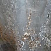 Для дома и интерьера ручной работы. Ярмарка Мастеров - ручная работа Белая органза с бежевыми цветами. Handmade.