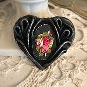 Украшения handmade. Livemaster - original item Brooch HEARTFELT GREETINGS (Leather). Handmade.