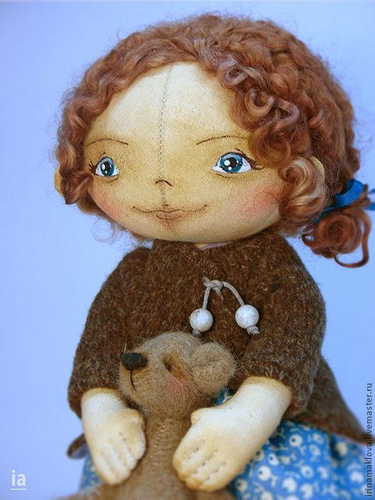 Коллекционные куклы ручной работы. Ярмарка Мастеров - ручная работа. Купить Катюша. Handmade. Голубой, хлопок, бусины
